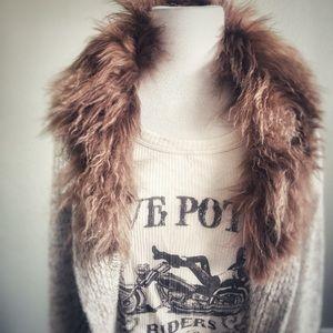 ISSI   Chunky Duster Long Cardigan w/ Fur Collar